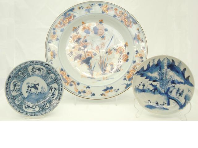 A collection of blue and white flatwares 18th/19th century