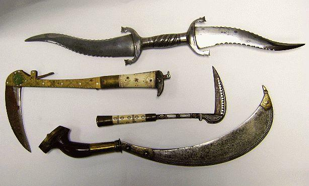 An Indian Double-Bladed Haladie, A Malabar Sacrificial Knife, And Two Khyber Lohar