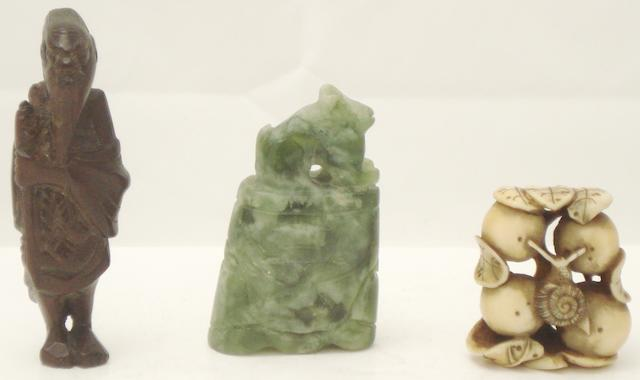 Two netsuke and a mineral carving
