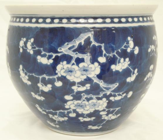 A blue and white jardinière Bearing four character Kangxi mark, but 19th century
