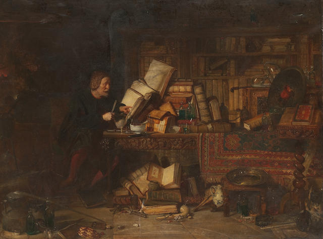 Sir William Fettes Douglas (Scottish, 1822-1891); 'The Alchemist', oil on canvas, 100 x 130cm