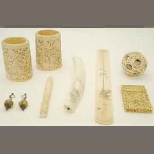 A collection of export ivories Chinese and Japanese, late 19th/early 20th century