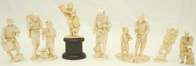 Seven ivory and marine ivory okimono Meiji/Taisho
