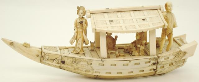 An ivory and bone boat group Meiji