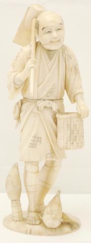A sectional ivory and marine ivory okimono of a farmer Meiji, signed 'Koichi'