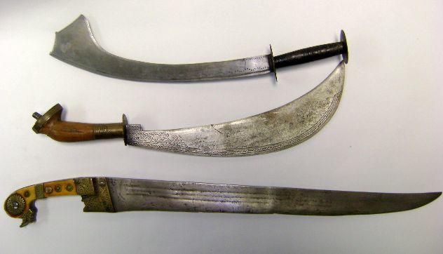 A Large South Indian Knife, A Malabar Sacrificial Knife, And A Nepalese Kora