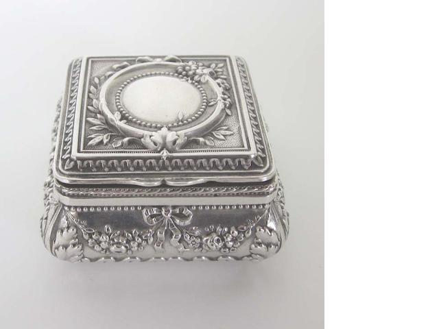 A 19th Century French   silver table snuff box with Minerva head standard mark
