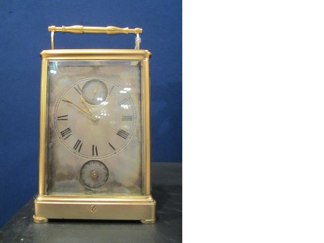 A good and rare mid 19th century French brass carriage alarm clock with subsidiary seconds indication, in the original travelling case
