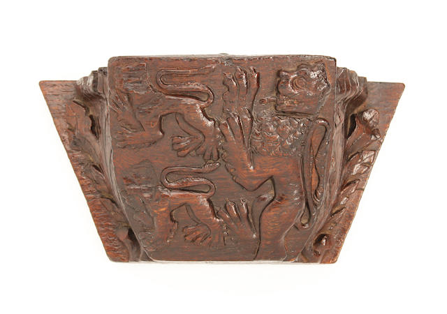 An early 16th century carved oak misericord 'corbel'