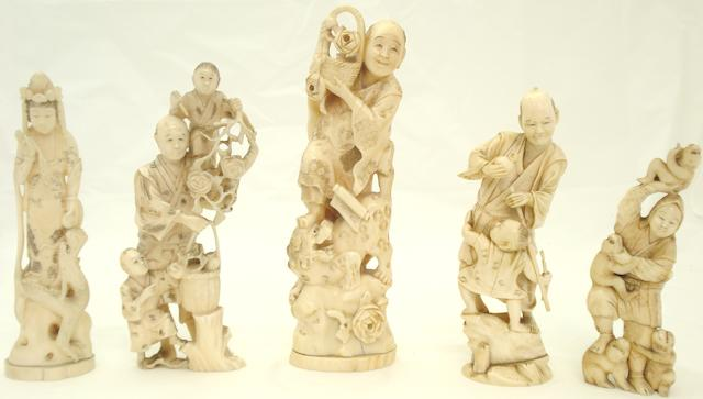 Five marine ivory figure groups Japanese, Meiji