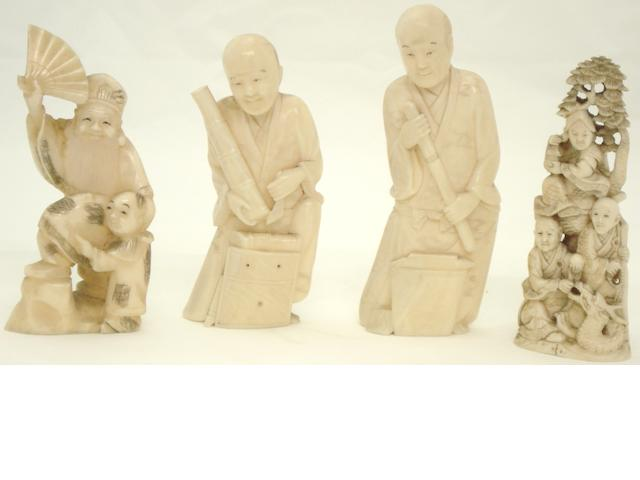 Four marine ivory figure groups Japanese, Meiji