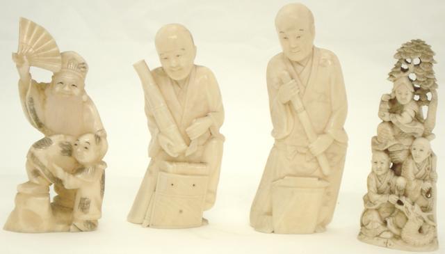 Four marine ivory figure groups Japanese, Meiji