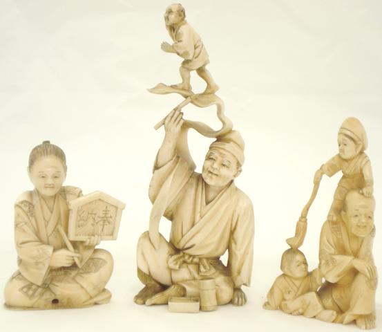 Three marine ivory figure groups Japanese, Meiji