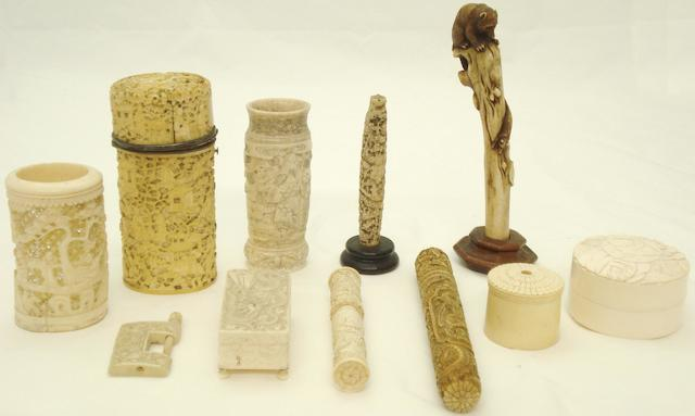 A collection of ivory and bone boxes Chinese and Japanese, late 19th/early 20th century