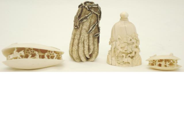 Two ivory snuff bottles and two ivory shells Chinese, late Qing/Republic