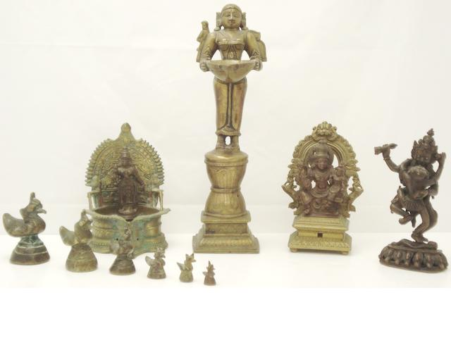 A collection of bronzes  Indian and Chinese