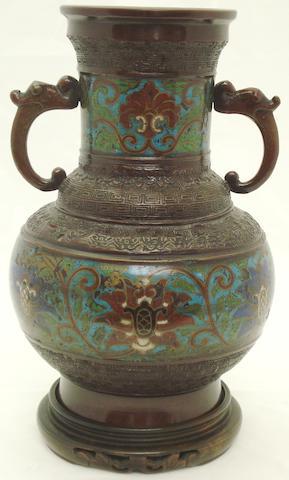 A cloisonné bronze vase Circa 1900
