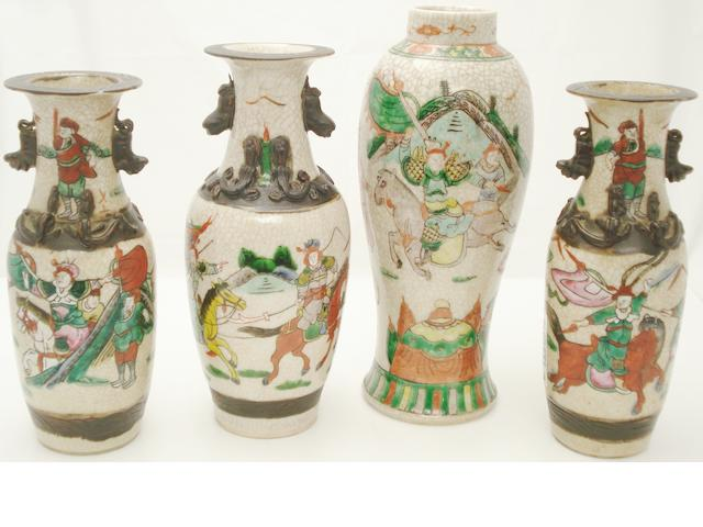 Four famille rose crackle vases Late 19th/early 20th century