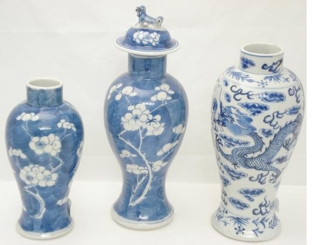 Three blue and white vases Bearing Kangxi four character marks but 19th century