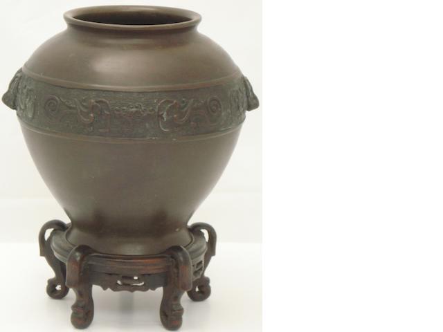 A bronze oviform vase Circa 1900
