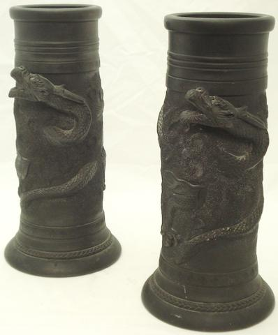 A pair of matt black sleeve vases Meiji/Taisho