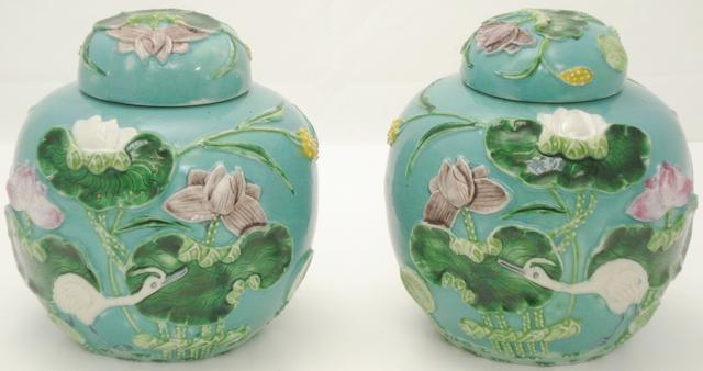 A pair of jars and covers in the style of Wang Bing Rong 20th century