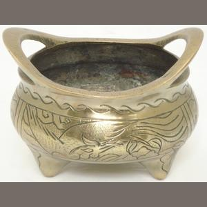 A bronze censer Bearing a Xuande six character mark but 19th/20th century