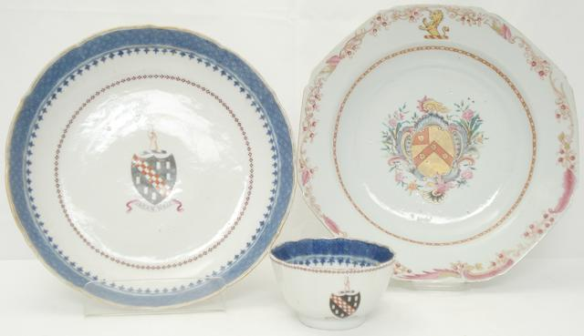 A collection of famille rose armorial porcelain  18th century