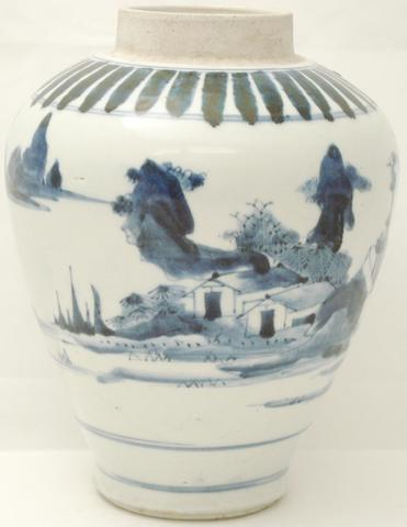 An Arita blue and white jar Edo