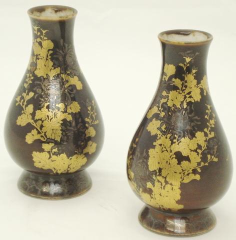 A pair of gold and silver enamelled vases Early 20th century