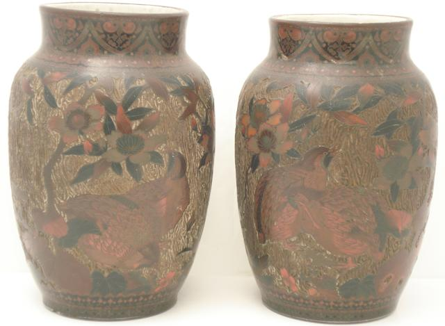 A pair of cloisonné decorated porcelain vases Circa 1900