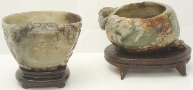 Two small jade bowls or brush washers  on stands Probably 20th century