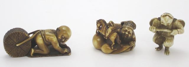 Three various netsuke Probably 20th century, the god signed 'Hitomasa'