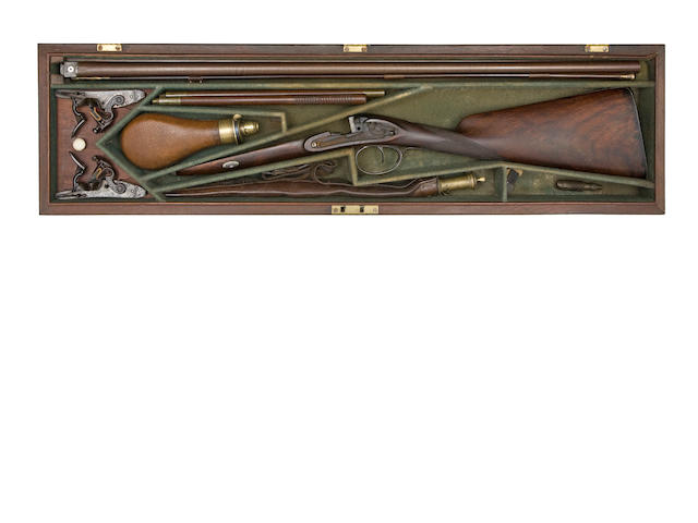 A Cased 22-Bore D.B. Flintlock Sporting Gun