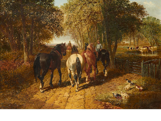 John Frederick Herring, Jnr. (British, 1815-1907) The plough team returning home