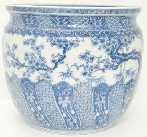 A Chinese style blue and white jardinière Bearing Chinese six character Xuande mark but circa 1900