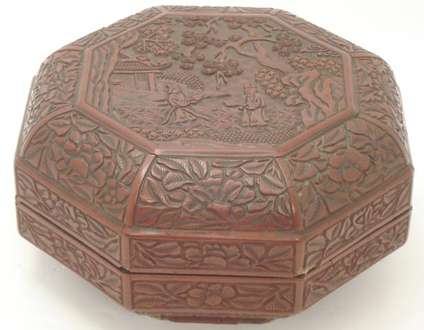 An octagonal cinnabar lacquer box 19th century
