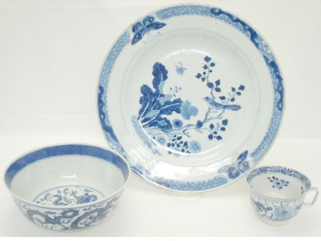 A collection of blue and white 18th/19th century