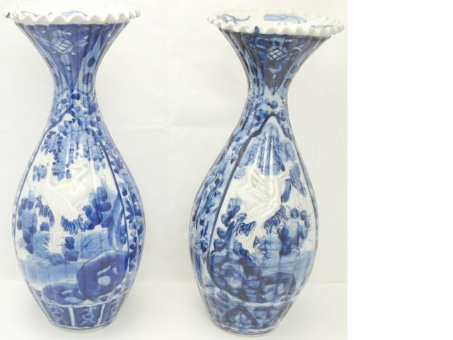 A pair of Arita blue and white vases Meiji