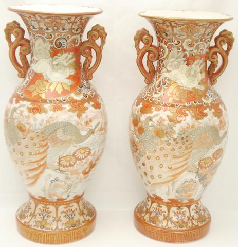 A pair of large Kutani vases Circa 1900