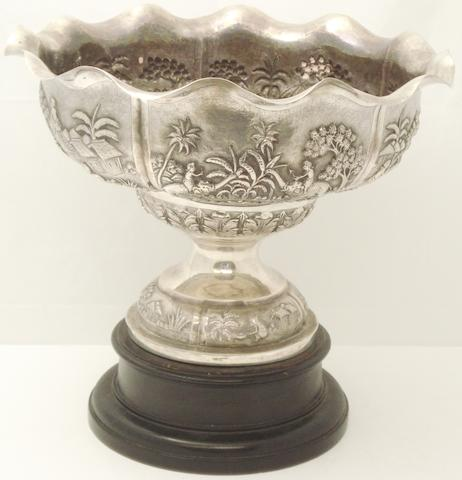 A large white metal comport 19th century