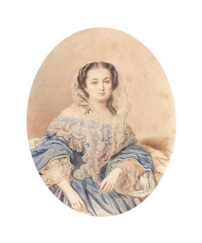 Carl-Avgust Matveevich Schreinzer (Russian, 1819-1897) Portrait of a lady oval