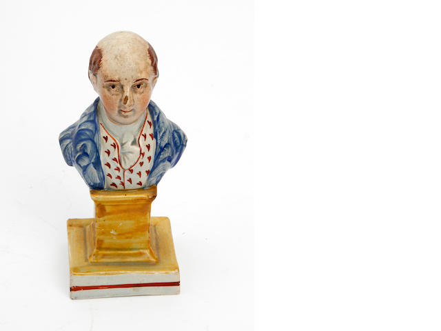 A Staffordshire pearlware bust of Lord Canning  19th Century