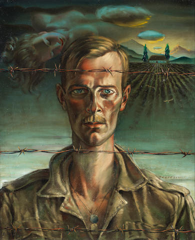 Vladimir Griegorovich Tretchikoff (South African, 1913-2006) Self Portrait as prisoner, oil