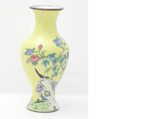 A Canton enamel vase