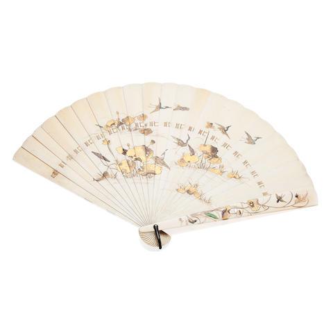 A shibayama ivory fan Meiji