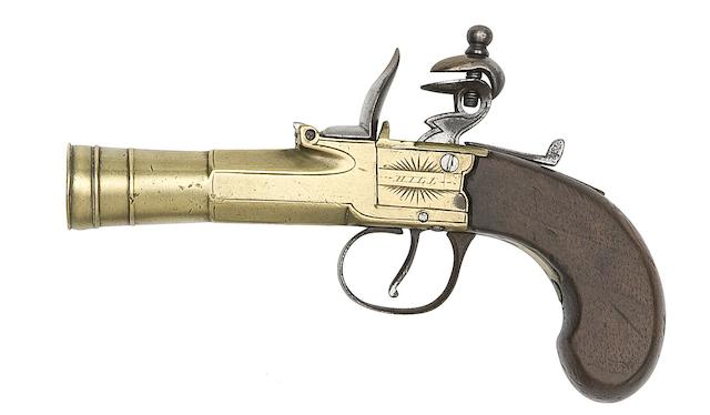A Flintlock Box-Lock Blunderbuss-Pistol, A French Flintlock Pistol, And A Flintlock Pistol Adapted From A Gun