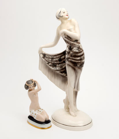 A Goldscheider Josef Lorenzl pottery figure of a dancing lady Circa 1930