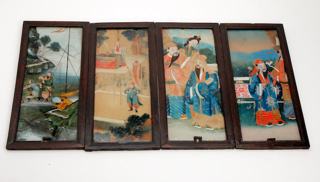 A collection of Chinese reverse paintings on glass Late 19th Century