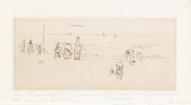"""James Abbott McNeill Whistler (American, 1834-1903) The Beach, Ostend Etching, c.1886-88, a very fine impression printed with tone, in dark brown, on antique laid, watermarked """"IH"""", from the posthumous edition of 3 impressions, printed by Nathaniel Sparks in 1931, signed by Sparks in pencil verso, inscribed in lower margin recto in pencil """"The 1st proof of an issue of 3 prints taken from the original plate by my authority. Rosalind Birnie Philip."""", 80 x 182mm (3 1/8 x 7 1/4in)(PL)"""